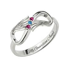 ring with birthstones angel wings infinity ring with birthstones white gold color