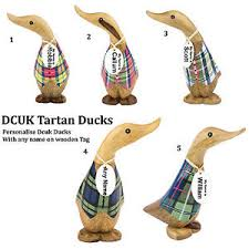 personalise tartan dcuk duck ornaments figurine with any name on tag
