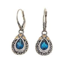 topaz earrings bali designs by robert manse 3ctw london blue topaz 2 tone