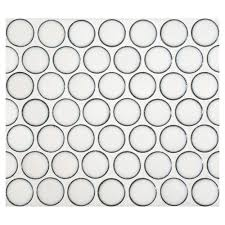 penny round mosaic lush white gloss complete tile collection
