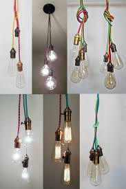 Coloured Cord Pendant Lights Exposed Bulb Ceiling Lights With Coloured Cords Used In Slanted