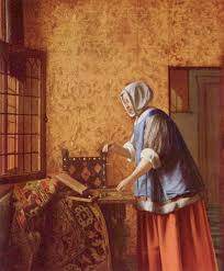 Interior with a Woman weighing Gold Coin