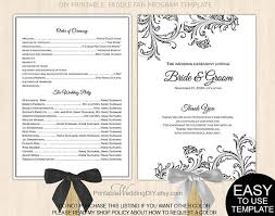 wedding programs fans templates items similar to black filigree fan program template printable