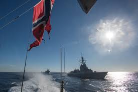 Flag Of Oslo Shape Standing Nato Maritime Group One In Norway