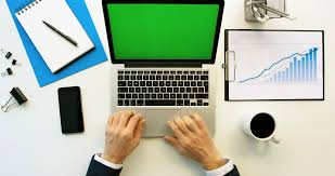 Office Table White Png Business Man Working With Laptop Compute With Green Screen On