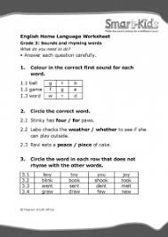grade 3 english worksheet sounds and rhyming words smartkids