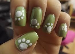 cute green and white puppy dog paw nail art design idea nail art