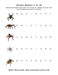 halloween math worksheet spiders ordering numbers to 50 a