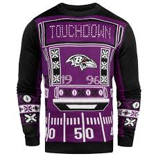 sweaters that light up s baltimore ravens klew purple light up sweater nflshop com