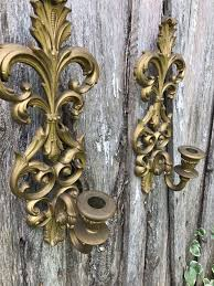 pair of vintage gold resin homco home interior wall sconces