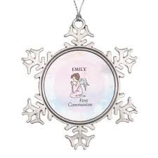 communion christmas ornament girl communion angel snowflake pewter christmas ornament