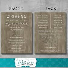 wedding ceremony programs diy rustic wedding program diy printable customizable
