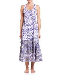 roberta roller rabbit letitia long cotton beach dress in blue lyst