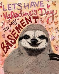 sloth valentines day card inked in happy anti s day from inked in