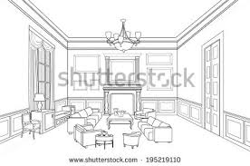 interior outline sketch furniture blueprint architectural stock