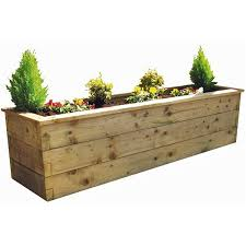 zest 4 leisure 1 8m deep wooden sleeper raised bed planter