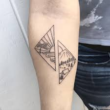 rising sun with mountain tattoos for birdstattoos