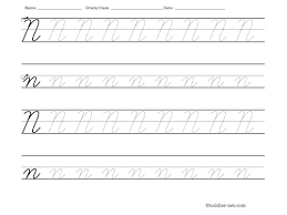 tracing worksheet cursive letter n