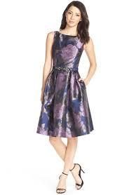 eliza j dresses lyst eliza j floral metallic jacquard fit flare dress in purple