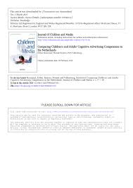 comparing children u0027s and adults u0027 cognitive advertising competences