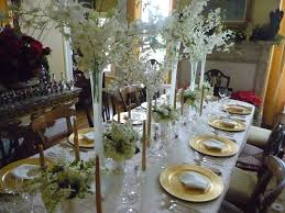 Christmas Table Decorating Ideas 2015 Stunning Christmas Dinner Table Decorations With White Long Fabric