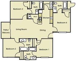 4 bedroom floor plan student apartment 4 bed 4 bath 901 place