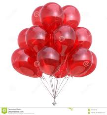 Red Helium Balloons Colorful Birthday Party Decoration Shiny Stock