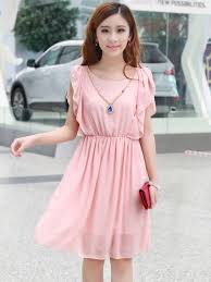 dress with necklace images Sweet pink round neck ruffles short sleeve dress with necklace JPG