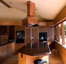copper island kitchen hood frank lloyd wright style modern