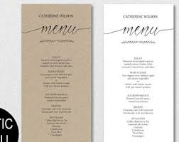 rustic wedding menu template green menu template leaves