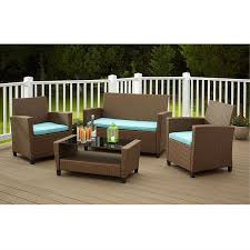 4 piece outdoor patio furniture set in brown wicker resin with