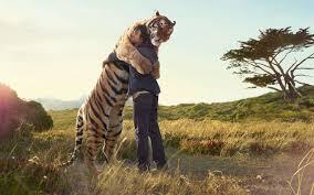 animals denim clothing hugging hugs jackets jeans long hair love