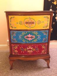 Indian Bed Furniture Indian Moroccan Inspired Free Hand Painted Bedside Table Did 2 X