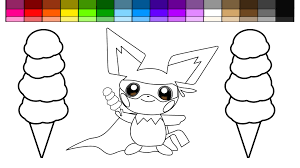 learn colors for kids and color pokemon pichu super hero with ice
