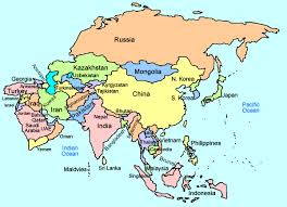 asia map and countries map of asia countries only major tourist attractions maps