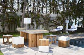 Teak Furniture Singapore Contemporary Bench And Table Set Teak Concrete Garden Kaba