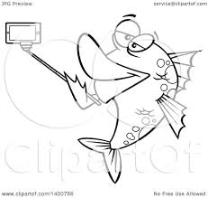 clipart of a cartoon black and white fish taking a portrait with a