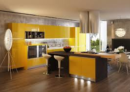 modern industrial kitchen ideas with yellow cabinet and brown