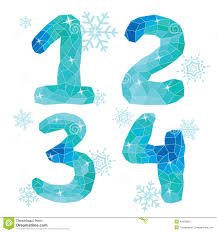 multicolor polygons isolated numbers 1 2 3 4 winter collect