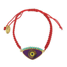 silver gold plated bracelet images Gold plated 925 silver and purple enamel evil eye cord charm jpg