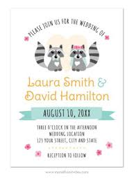 wedding invitations hamilton and groom raccoon animal wedding invitations