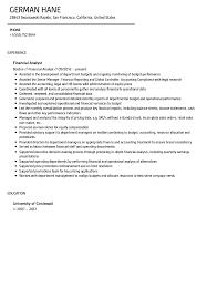 Financial Analyst Resume Template Financial Analyst Resume Sample Velvet Jobs