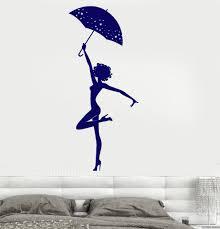 wall vinyl decal dancing with umbrella romantic rain decor