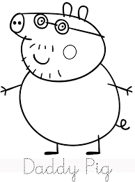 daddy pig trace peppa pig coloring pages