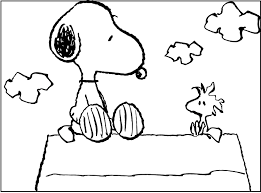 snoopy sitting woodstock coloring pages kids fys