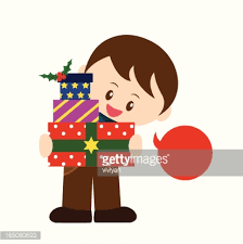 boy shopping for christmas gift vector art getty images