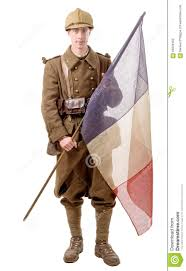 Soldier With Flag 1940 French Soldier With A Flag Isolated On A White Background