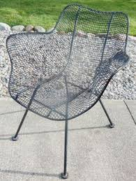restored russell woodard sculptura arm wire patio chairs mid century