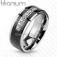 comfort fit titanium mens wedding bands cubic zirconia titanium wedding anniversary bands ebay