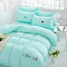 i miss you embroidery washed cotton bedding set comforter duvet